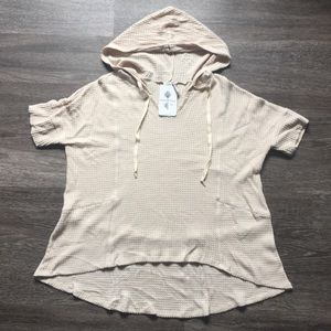 NWT PAPER CRANE Taupe Hooded BOHO Top, Size L